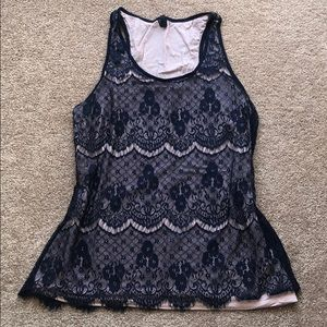 Light pink tank with navy lace overlay